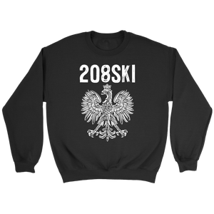 Idaho - 208 Area Code - Polish Pride - Crewneck Sweatshirt / Black / S - Polish Shirt Store
