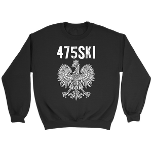 Bridgeport Connecticut - 475 Area Code - Polish Pride - Crewneck Sweatshirt / Black / S - Polish Shirt Store