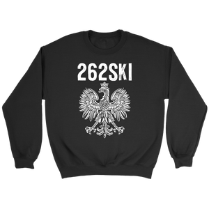 Wisconsin Polish Pride - 262 Area Code - Crewneck Sweatshirt / Black / S - Polish Shirt Store