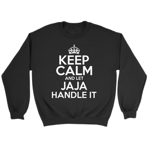 Keep Calm And Let JaJa Handle It - Crewneck Sweatshirt / Black / S - Polish Shirt Store