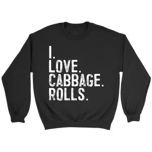 I Love Cabbage Rolls - Crewneck Sweatshirt / Black / S - Polish Shirt Store