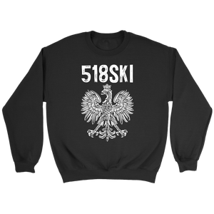 Albany New York - 518 Area Code - Polish Pride - Crewneck Sweatshirt / Black / S - Polish Shirt Store