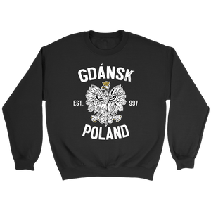 Gdansk Poland - Crewneck Sweatshirt / Black / S - Polish Shirt Store