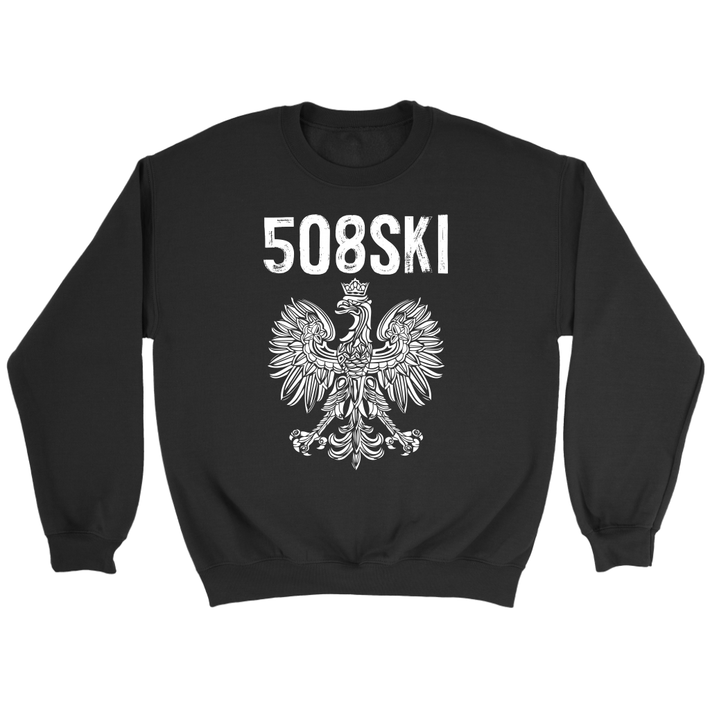 Worcester Massachusetts - 508 Area Code - Polish Pride - Crewneck Sweatshirt / Black / S - Polish Shirt Store