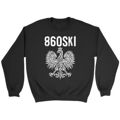 Hartford Connecticut - 860 Area Code - Polish Pride - Crewneck Sweatshirt / Black / S - Polish Shirt Store