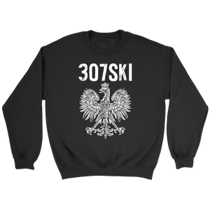 Wyoming - 307 Area Code - Polish Pride - Crewneck Sweatshirt / Black / S - Polish Shirt Store