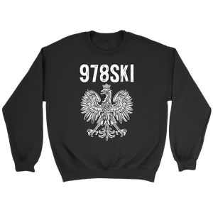 Lowell Massachusetts - 978 Area Code - Polish Pride - Crewneck Sweatshirt / Black / S - Polish Shirt Store