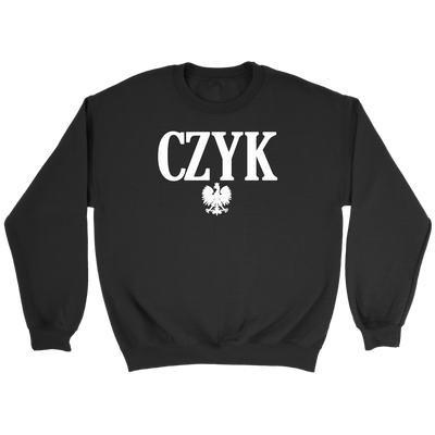 Polish Surnames ending in CZYK - Crewneck Sweatshirt / Black / S - Polish Shirt Store