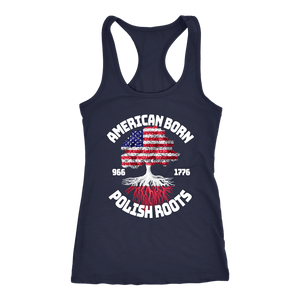 American Born With Polish Roots - Next Level Racerback Tank / Navy / XS - Polish Shirt Store
