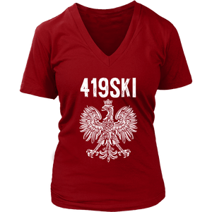 Toledo Ohio - 419 Area Code - Polish Pride - District Womens V-Neck / Red / S - Polish Shirt Store