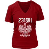 Michigan Polish Pride - 231 Area Code - District Womens V-Neck / Red / S - Polish Shirt Store