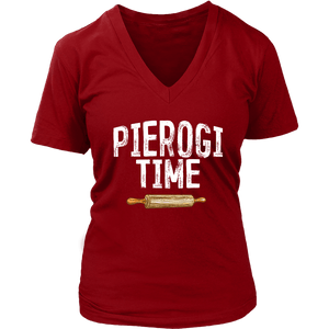 Pierogi Time T-Shirt - District Womens V-Neck / Red / S - Polish Shirt Store