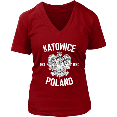 Katowice Poland - District Womens V-Neck / Red / S - Polish Shirt Store