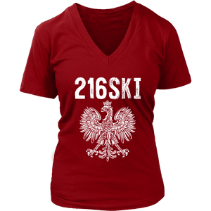 Cleveland Ohio - 216 Area Code - 216SKI - District Womens V-Neck / Red / S - Polish Shirt Store
