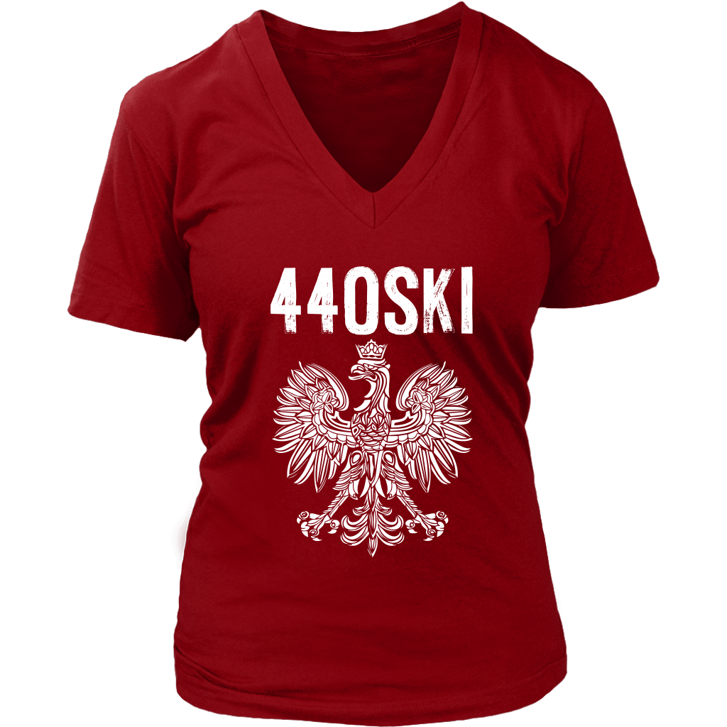 Parma Ohio - 440 Area Code - Polish Pride - District Womens V-Neck / Red / S - Polish Shirt Store