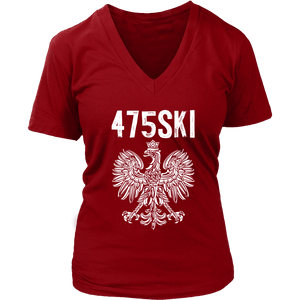 Bridgeport Connecticut - 475 Area Code - Polish Pride - District Womens V-Neck / Red / S - Polish Shirt Store