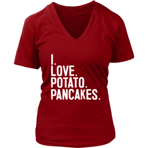 I Love Potato Pancakes - District Womens V-Neck / Red / S - Polish Shirt Store