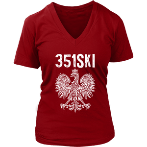 Lowell Massachusetts - 351 Area Code - Polish Pride - District Womens V-Neck / Red / S - Polish Shirt Store