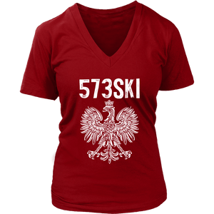 573SKI Missouri Polish Pride - District Womens V-Neck / Red / S - Polish Shirt Store