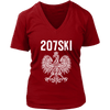 Maine - 207 Area Code - 207SKI - District Womens V-Neck / Red / S - Polish Shirt Store