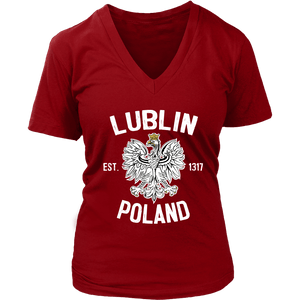 Lublin Poland - District Womens V-Neck / Red / S - Polish Shirt Store