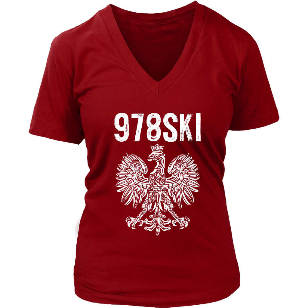 Lowell Massachusetts - 978 Area Code - Polish Pride - District Womens V-Neck / Red / S - Polish Shirt Store