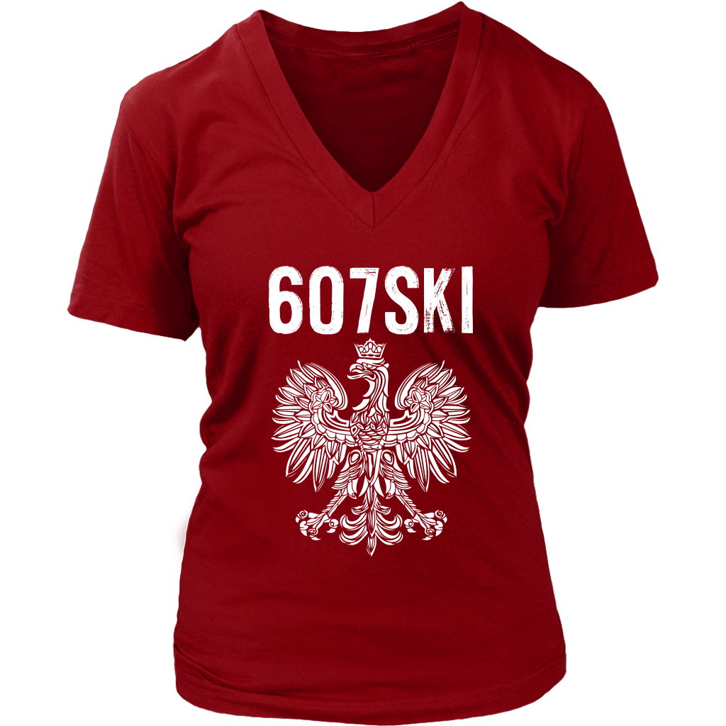 Binghamton NY - 607 Area Code - Polish Pride - District Womens V-Neck / Red / S - Polish Shirt Store
