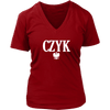 Polish Surnames ending in CZYK - District Womens V-Neck / Red / S - Polish Shirt Store