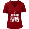 Pierogi Removal Service - District Womens V-Neck / Red / S - Polish Shirt Store