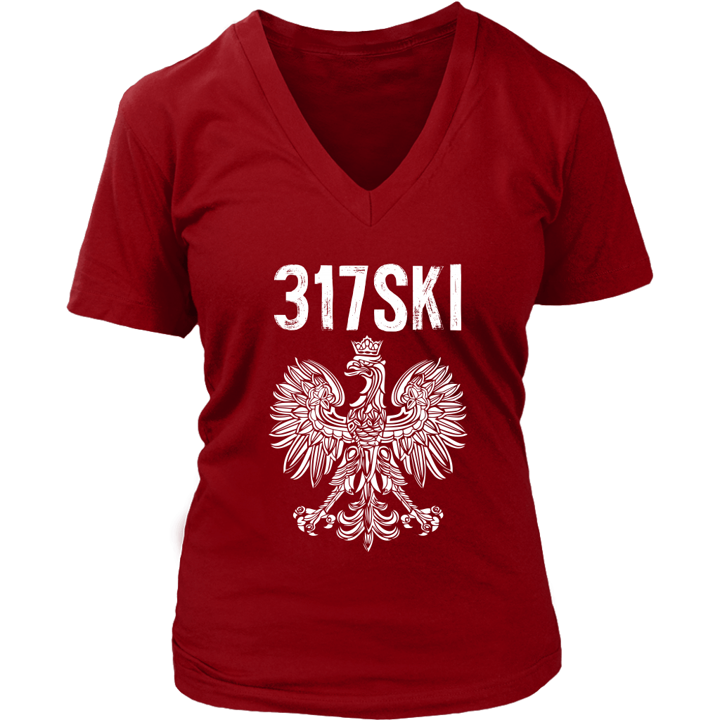 317SKI Indiana Polish Pride - District Womens V-Neck / Red / S - Polish Shirt Store