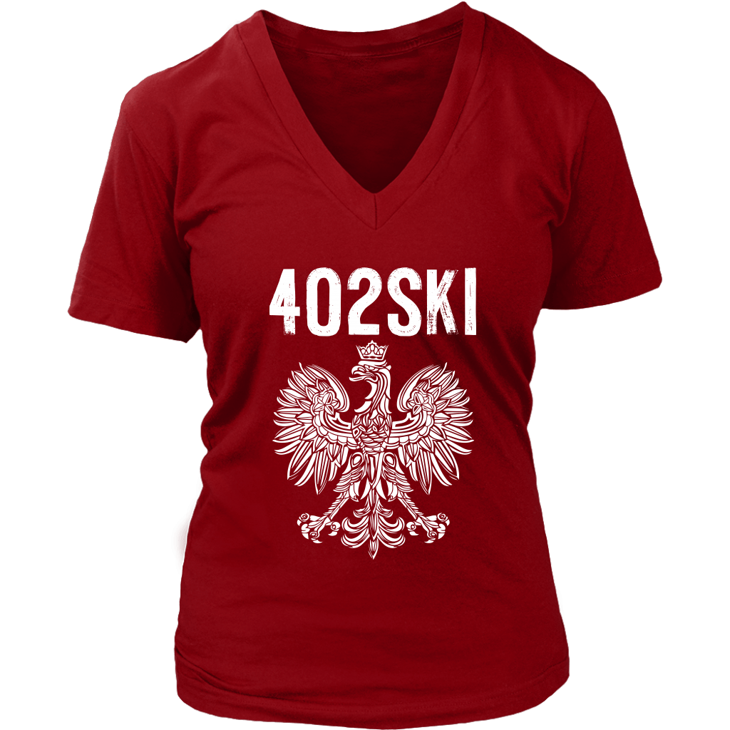 402SKI Polish Pride - District Womens V-Neck / Red / S - Polish Shirt Store