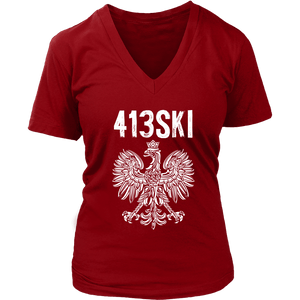 Springfield Massachusetts - 413 Area Code - Polish Pride - District Womens V-Neck / Red / S - Polish Shirt Store