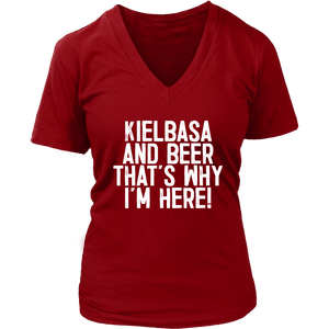 Kielbasa And Beer That's Why I'm Here - District Womens V-Neck / Red / S - Polish Shirt Store