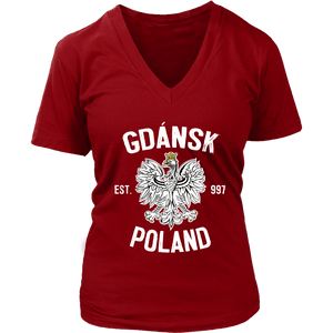 Gdansk Poland - District Womens V-Neck / Red / S - Polish Shirt Store