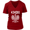 434SKI Virginia Polish Pride - District Womens V-Neck / Red / S - Polish Shirt Store