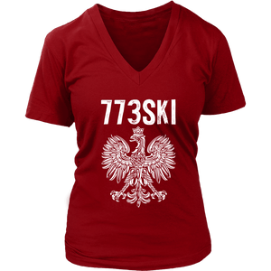 773SKI Chicago Polish Pride - District Womens V-Neck / Red / S - Polish Shirt Store