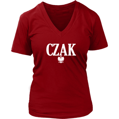 Polish Surname Ending in CZAK - District Womens V-Neck / Red / S - Polish Shirt Store
