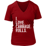 I Love Cabbage Rolls - District Womens V-Neck / Red / S - Polish Shirt Store
