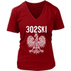 302SKI Delaware Polish Pride - District Womens V-Neck / Red / S - Polish Shirt Store