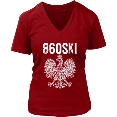 Hartford Connecticut - 860 Area Code - Polish Pride - District Womens V-Neck / Red / S - Polish Shirt Store