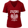 North Carolina Polish Pride - 252 Area Code - District Womens V-Neck / Red / S - Polish Shirt Store