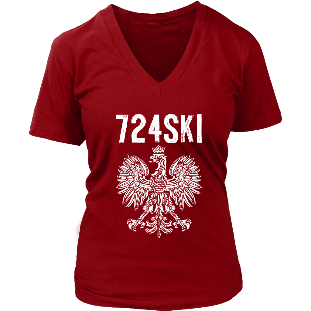 724SKI Pennsylvania Polish Pride - District Womens V-Neck / Red / S - Polish Shirt Store