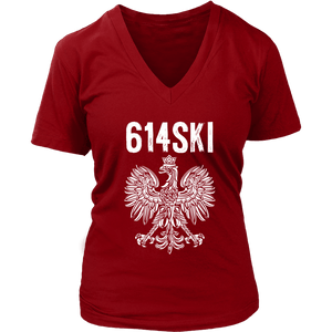 Columbus Ohio - 614 Area Code - Polish Pride - District Womens V-Neck / Red / S - Polish Shirt Store