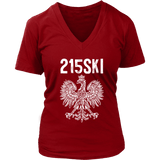 215SKI Pennsylvania Polish Pride - District Womens V-Neck / Red / S - Polish Shirt Store
