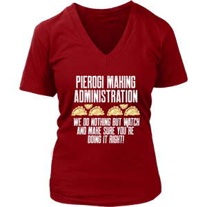 Pierogi Making Administration - District Womens V-Neck / Red / S - Polish Shirt Store