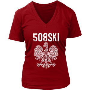 Worcester Massachusetts - 508 Area Code - Polish Pride - District Womens V-Neck / Red / S - Polish Shirt Store