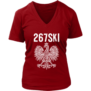 Pennsylvania Polish Pride - 267 Area Code - District Womens V-Neck / Red / S - Polish Shirt Store