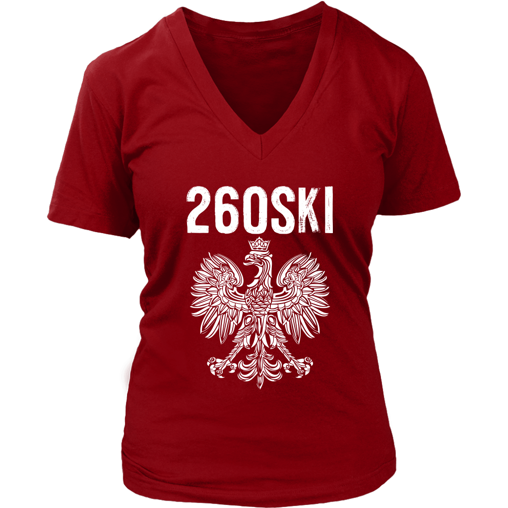 Indiana Polish Pride - 260 Area Code - District Womens V-Neck / Red / S - Polish Shirt Store