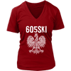 605SKI South Dakota Polish Pride - District Womens V-Neck / Red / S - Polish Shirt Store