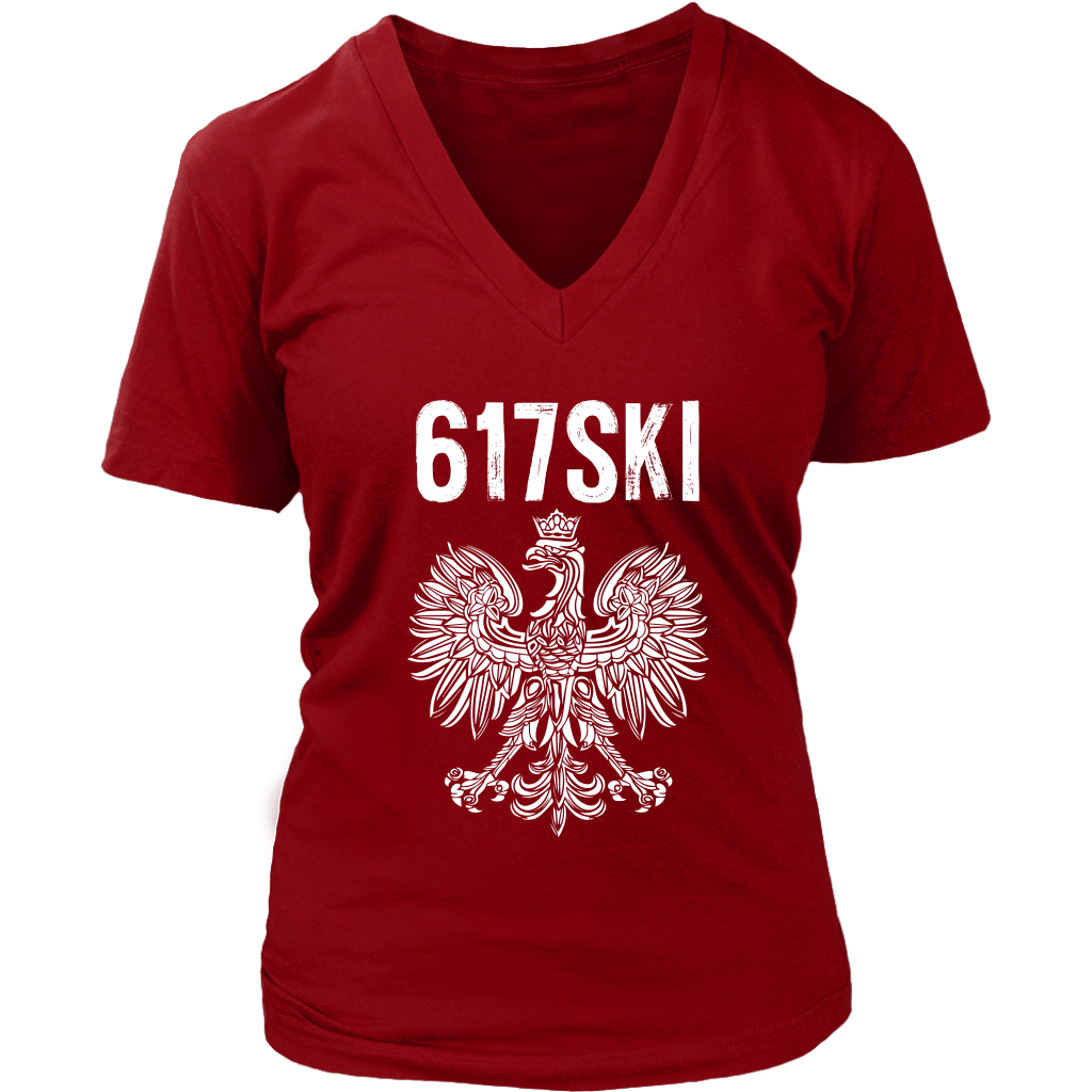 Worcester Massachusetts - 617 Area Code - Polish Pride - District Womens V-Neck / Red / S - Polish Shirt Store